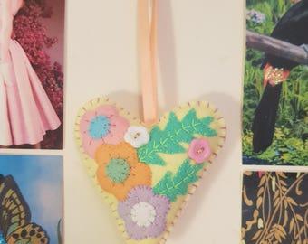 Pastel Floral Yellow Handmade Felt Hanging Heart