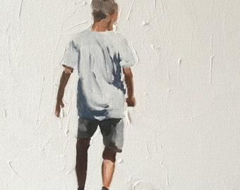 Football Soccer painting Soccer Art PRINT Boy Playing Football - Art Print  - from original painting by J Coates