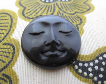 15 mm Moon Face Cabochon with Closed Eyes, Hand Carved Ox Horn, Embellishment, Organic , Jewelry making Supplies S3887