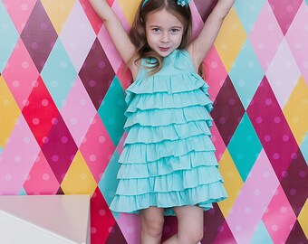 Dress with Ruffle for girl - ruffle flower girl - green Girl Dress - Flower Girl Dress - Ruffle Girl Dress summer Girl Dress cute Girl Dress