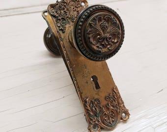 Door Knobs & Plates, Fleur de Lis, Complete Set Victorian Door Hardware Antique Door Knobs Door Plates, Ornate Hardware, Pair of Escutcheons