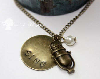 Vintage Microphone Sing Music Necklace-Now in Bronze or Silver