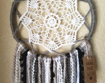 Doily Dreamcatcher - Black, White & Grey