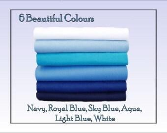Felt Fabric Chemical Free Squares Blue Shades 12 squares