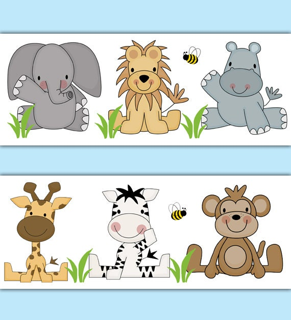 SAFARI Tier WALLPAPER Border Aufkleber Dschungel Kinderzimmer