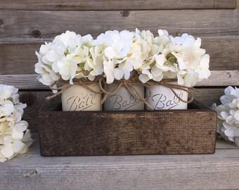 Distressed Mason Jars,Rustic Home Decor,Farmhouse Decor, Painted Mason Jars,Mason Jar Decor,Ball, Farm Table Centerpiece, Brown,Rustic Decor