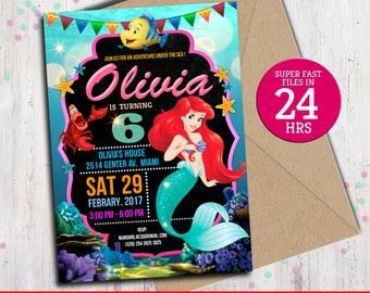 Little Mermaid Invitation - Disney Little Mermaid Invite - Little Mermaid Printed Invitation - Little Mermaid Birthday Party 01