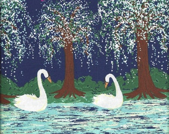 CX6794 - SWAN LAKE Border Fabric - by Michael Miller - Birds - Nature - Landscape - Trees - Water 100% Cotton Quilt Shop Quality By the Yard