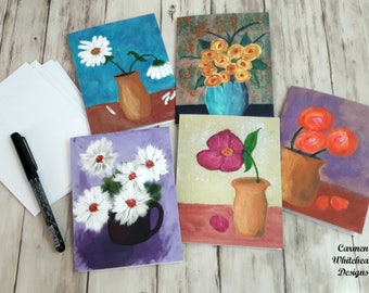 Note card set, Variety note cards, blank inside, thank you cards, greeting cards, birthday cards, get well soon cards, Flowers note cards