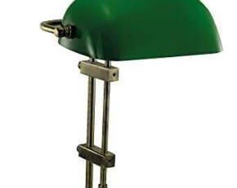 Desk / banking lamp brass burnished-tarnish-no-polish-glass