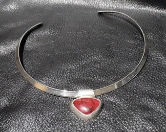 Modernist Sterling Necklace, Jasper Pendant, Neck Wire, Vintage