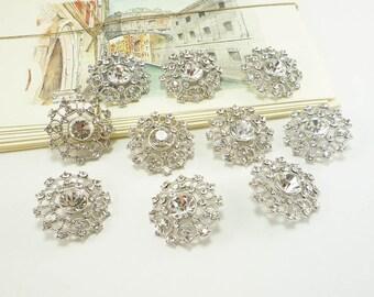 Round Crystal Silver Rhinestone Button - Art Deco (30mm, 10pcs)