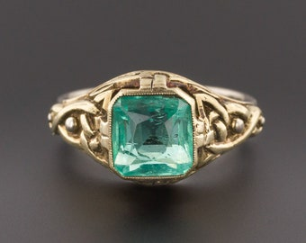 Vintage Emerald Ring | 14k Gold Emerald Ring | Natural Emerald Ring | Green and White Gold Ring | 14k Gold Ring | Vintage Ring