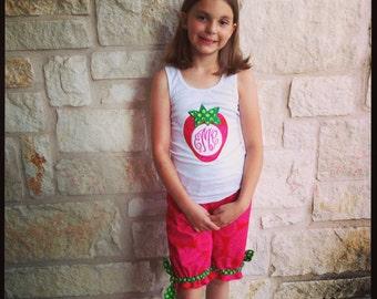 Girl's Strawberry Monogram Applique Tshirt