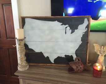 United States framed wood map painting on reclaimed wood 20x30
