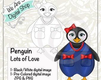 We Are 3 Digital Shop, Penguin Lots of Love,  Digital Stamp