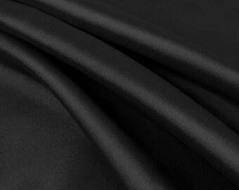 Stretch Satin Charmeuse Black Fabric- 25 Yards