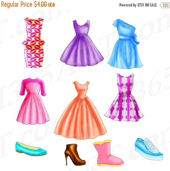 50 off chic dress clipart fashion clipart flats shoe rh etsy com prom dresses clipart wedding dresses clipart