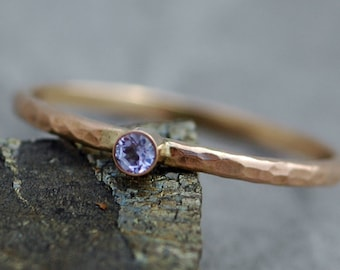 Gemstone on Thin Solid Recycled 14k Gold Stacking Engagement Ring- White or Yellow Gold Made to Order