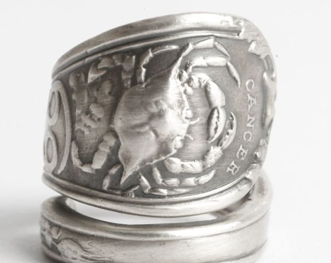 Cancer Ring, Crab Ring, Sterling Silver Spoon Ring, Zodiac Ring, Constellation Ring, Horoscope Ring, Astrology Ring, Adjustable Size (3160)
