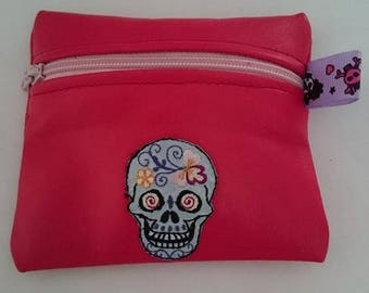 Soft pink leather purse and its colorful skull