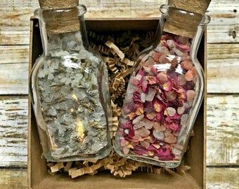 BATH SALTS, Gift Set, Rose petals, Lavender petals, Oatmeal, Essential oil, Detox, Bridesmaid gifts, Wedding Favors, Valentine's Day gift