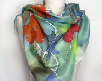 Hand painted silk scarf. Floral silk foulard. Original wearable silk art. Unique delisa creation. Hand painted to order in France.