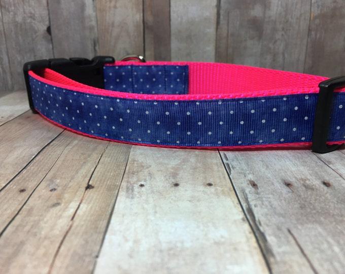 "The Chanel | Designer 1"" Width Dog Collar | CupcakePups Collars | Denim Dots | Medium/Large Dog Collar"