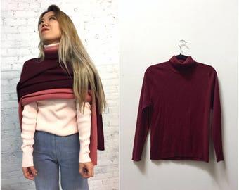 vintage 90s burgundy ribbed turtleneck / maroon long sleeve turtle neck  / long sleeve cabernet  wine knit top