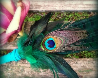 Smudge Fan-Pheasant-Peacock Feather-Pay with PayPal get a free spell in the box! -Blue Green-Cruelty free feathers-Sustainable Suede Handle