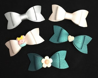 Handmade fuax leather bows