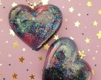 Holographic Galaxy Heart Necklace