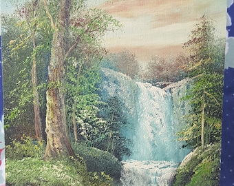 Nature Landscape Art Painting Waterfall at Sunset Forest Trees on Canvas Board Artwork Signed R Danford FS 32
