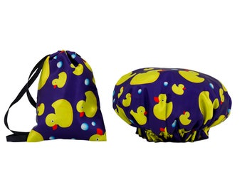 Ducks Waterproof Shower Cap Matching Bag Bathroom Toiletries Set Kids Teenagers