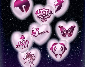CHERISH- 20mm Hearts-Wedding Romance Sweetheart-Pink Pearl-Alphabet Symbols of Love-Stickers-Jewelry Charms-Collage-Scrapbooking Arts&Crafts