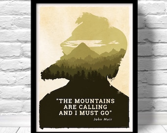 The Mountains are calling Poster, National Park Art, John Muir quote print, sequoia trees, spiritual hiking