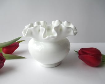 Vintage Fenton Milk Glass Crimped Small Vase