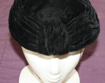 Black Velvet Hat Cap 1950s
