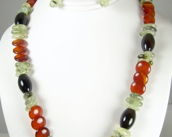Fiesta - a party red and black Agate and Prehnite