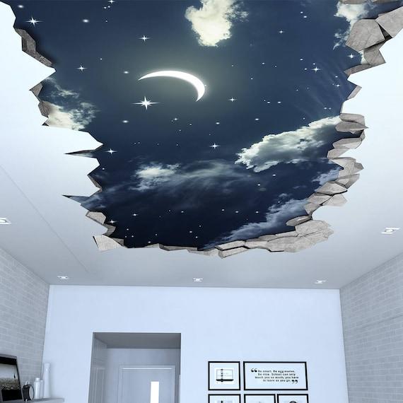 night sky 3d effect ceiling 3d wallpaper 3d wall decals. Black Bedroom Furniture Sets. Home Design Ideas