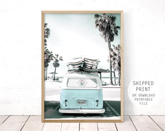 beach print, retro beach art, kombi van print, blue kombi, beach wall art, beach poster print, teal wall art, teal kombi, blue kombi