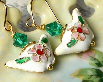 Spring White Cloisonne Puff Earrings,Hand Painted Earrings,White Earrings,Spring Summer Jewelry