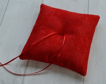 Wedding ring cushion, Valentines Day wedding ring pillow, Red wedding pillow
