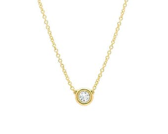 14k Diamond 0.10ct 0.20ct 0.30ct to 1ct. Solitaire Diamond Necklace,  all sizes available, Real solitaire diamond, Gold diamond necklace