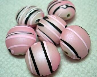 Pinkish Black White Striped Puffed Flat Round Acrylic Beads (Qty 6) - B3086