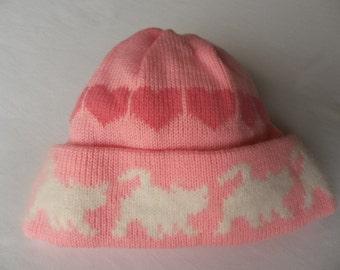 Kittens and Hearts Winter Hat, Custom Design, Handmade, Pink with White Angora