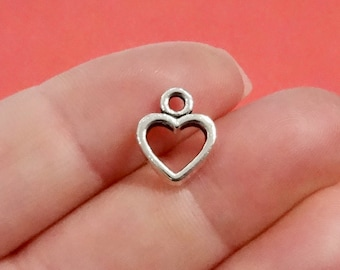 20, Heart (double sided, puffed) Charms 10x12x2mm, Hole: Approx. 1.5mm