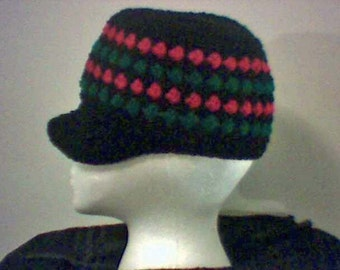 Hand crocheted Red Black Green Bboy Hat