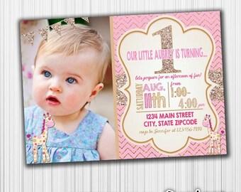 Giraffe Birthday Invitation, Pink and Gold, - Printable, Glitter, Announcement,  Custom Digital File, any age
