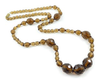 Vintage Brown Glass Bead Necklace, S63
